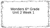 6th Grade Wonders-Unit 2 Week 1 Centers
