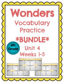 6th Grade Wonders Vocabulary Practice with Google Slides - Unit 4