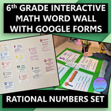 Interactive 6th Grade Math Word Wall Rational Numbers Set with Google Forms