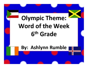 6th Grade Word of the Week - Olympic Theme