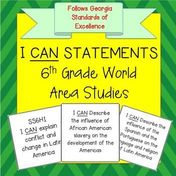 6th Grade World Area Studies I CAN Statements - Georgia
