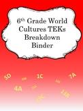6th Grade World Cultures TEKS Breakdown Binder