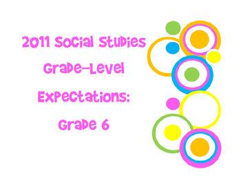 6th Grade World History Louisiana 2011 GLE Posters