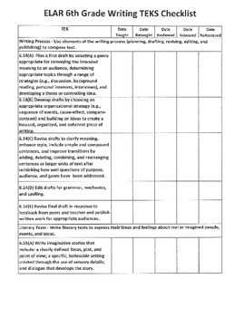 6th Grade Writing TEKS Checklist
