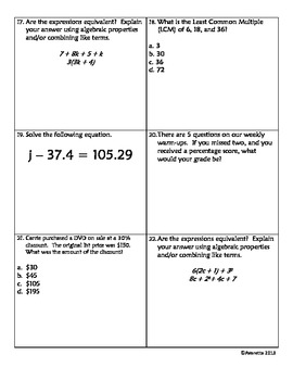 6th Grade math Review 2 -- 6.NS.2, 6.NS.4, 6.EE.4, 6.EE.5, 6.RP.3c