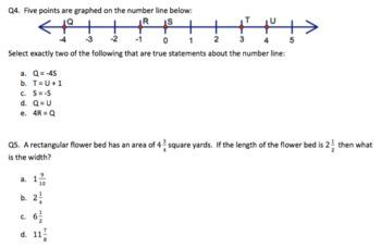 6th Grade math common core practice test PBA