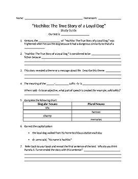 6th Grade myPerspectives Hachiko: The True Story of a Loyal Dog Study Guide
