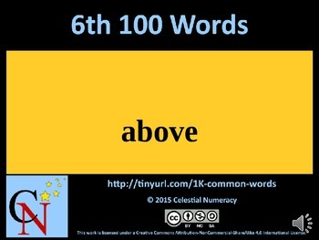 6th Hundred Words with Audio - 1,000 Word Fluency Program (Free)
