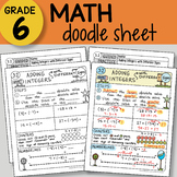 Doodle Sheet - Adding Integers with Different Signs -  EASY to Use Notes -