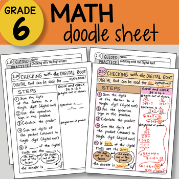 Doodle Sheet - Checking with the Digital Root -  EASY to Use Notes -