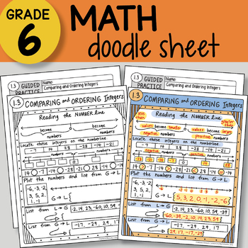 Doodle Sheet - Comparing and Ordering Integers - EASY to Use Notes -