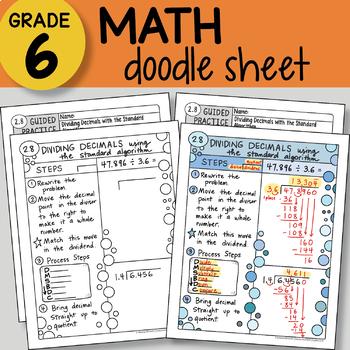 Doodle Sheet - Dividing Decimals w/ Standard Algorithm