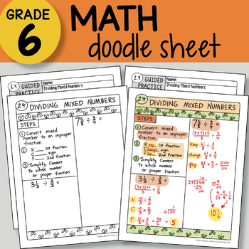Doodle Sheet - Dividing Mixed Numbers - EASY to Use Notes - PPT included!