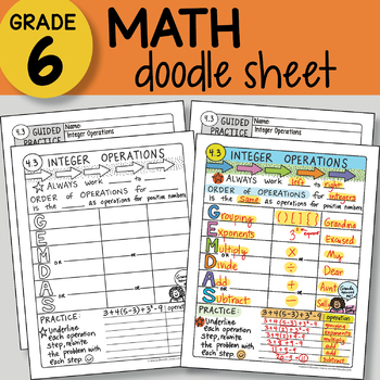 Doodle Sheet - Integer Operations -  EASY to Use Notes - PPT included!