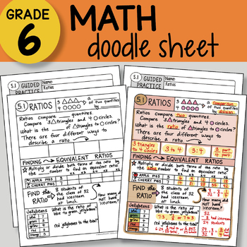 Doodle Sheet - Ratios -  EASY to Use Notes - PPT included!