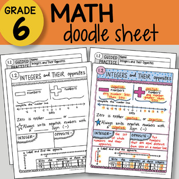 Doodle Sheet - Integers and Their Opposites - EASY to Use Notes - PPT included!