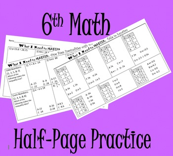 6th Math Mini Practice or Quizzes (15 Concepts)