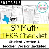 "6th Math TEKS Checklist - ""I Can"""