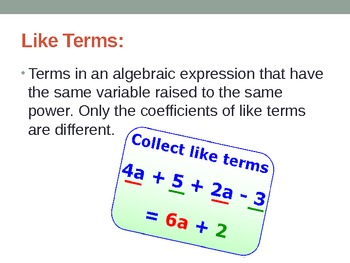 6th Math Unit 3:  Expressions Vocab Powerpoint