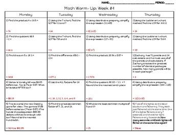 6th Math Weekly Warm Up (GCF, LCM, Dist. Property & Review Decimals) & Key