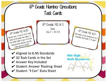 6th Number Operations Task Cards