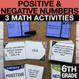 6th Positive and Negative Numbers Activities   6th Grade G