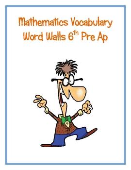 6th Pre Ap Math Word Walls