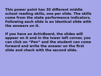 6th Six Weeks Mid. Schl. Reading Bellringers Revised Daily Oral Power Point