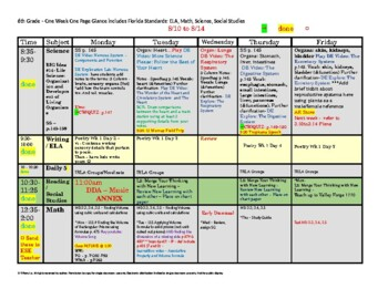 6th Sixth Grade Florida Standards Weekly Lesson Plan Templ