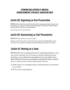 6th TCAP Review -Enrichment Packet Answer Key