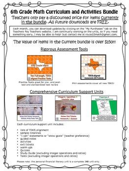 6th Grade Math TEKS Curriculum Bundle