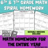 6th and 7th Grade Math Homework