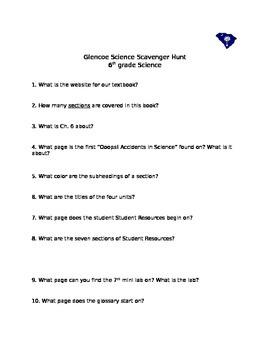 6th gr Glencoe South Caroline Science Scavenger Hunt