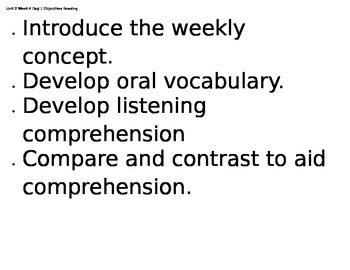 6th gr. Reading Street Unit 2, Week 4 Objectives