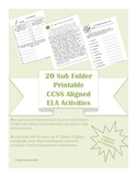 6th grade 20 ELA CCSS aligned worksheets -for Sub Tub & Emergency Sub Plans