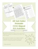 6th grade 20 ELA CCSS aligned worksheets -for Sub Tub & Emergency Sub Plans