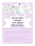 6th grade 20 Math CCSS aligned worksheets & games for Sub Tub