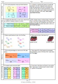 6th grade 6-Week *Domain Series Focus: Ratios & Proportions* Math Spiral Review