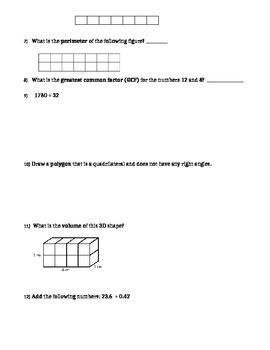 6th grade CCSS Math Pre-assessment