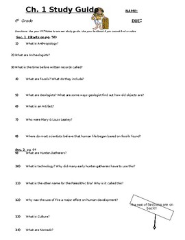 6th grade Ch 1 Study Guide (Pearson MyWorld History)