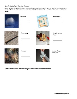 6th grade Chemical and Physical change test - basic or extremely below level