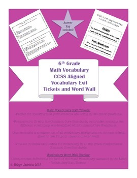 6th Grade Math- CCSS Aligned Vocabulary Exit Tickets + Word Wall