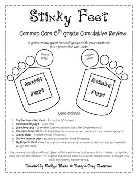 6th grade Common Core Cumulative Review - Small Group Game