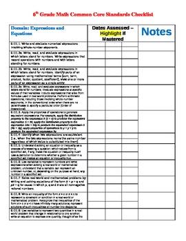 6th grade Common Core Math checklist/Assessment Tracker