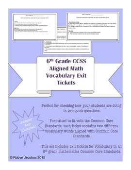 6th Grade Math- Common Core Standard Vocabulary Exit Tickets & Answer Key