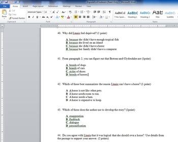 6th grade ELA Final exam