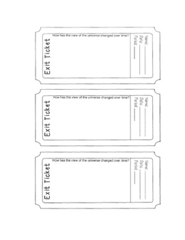 6th grade Earth Science Exit Tickets