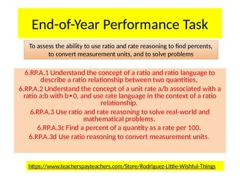 6th grade End of Year Performance task 2015 version