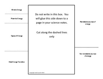 6th grade Energy - study guide foldable