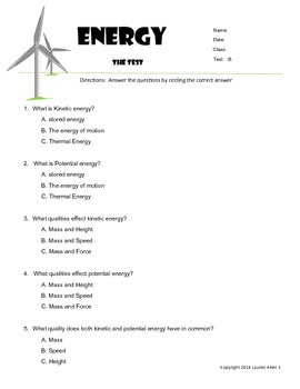 6th grade Energy types,sources,transfer - Basic Level